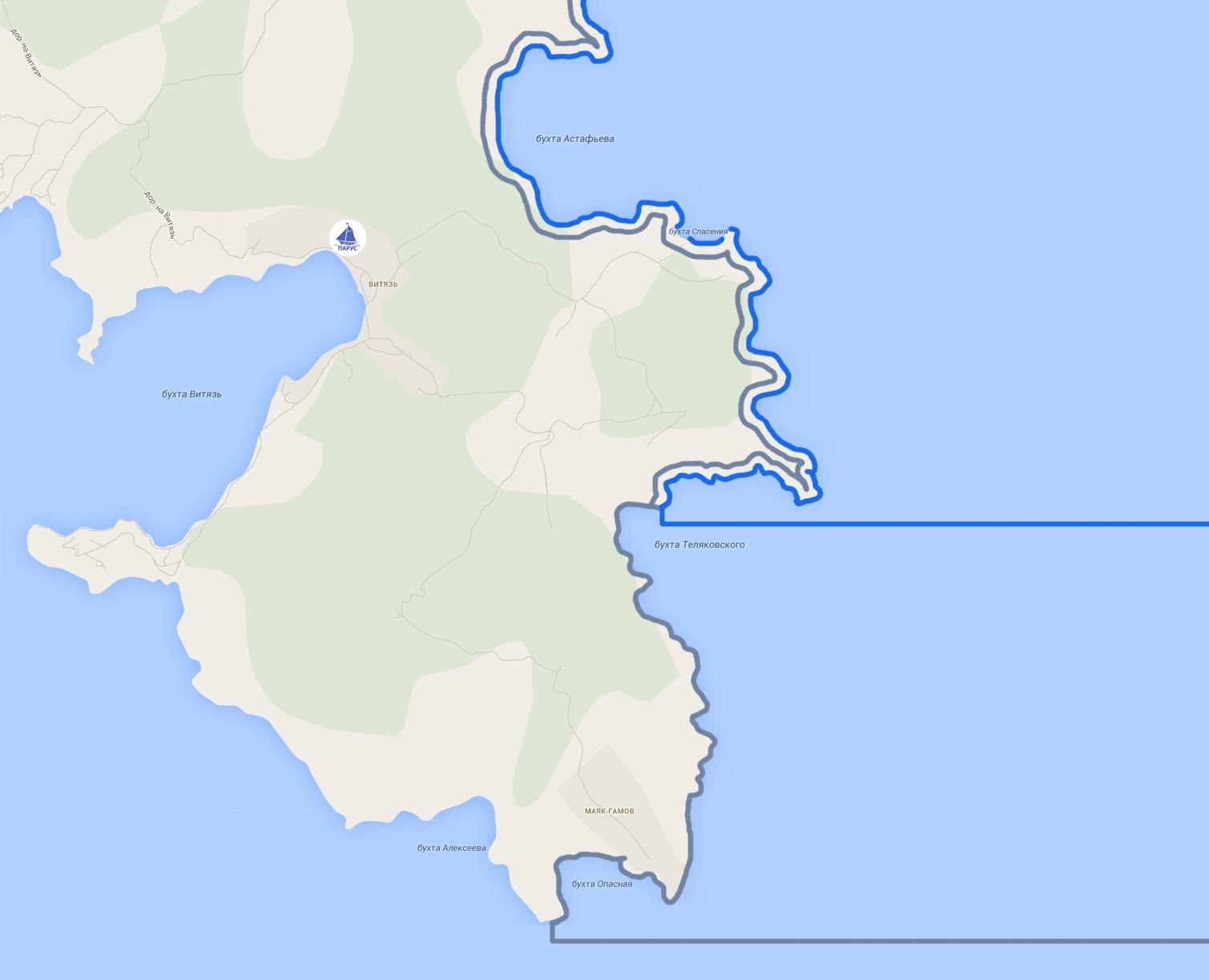 Границы Морского заповедника на полуострове Гамова